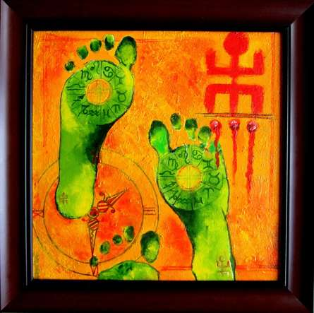 Motivational Acrylic Art Painting title 'SUBH LABH' by artist Sharmi Dey