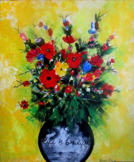Sharmi Dey | Acrylic Painting title Flower Vase on Canvas | Artist Sharmi Dey Gallery | ArtZolo.com