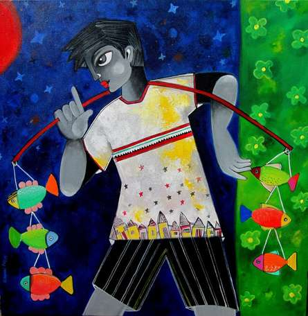 Sharmi Dey Paintings | Figurative Painting - Winnie the fisher boy by artist Sharmi Dey | ArtZolo.com