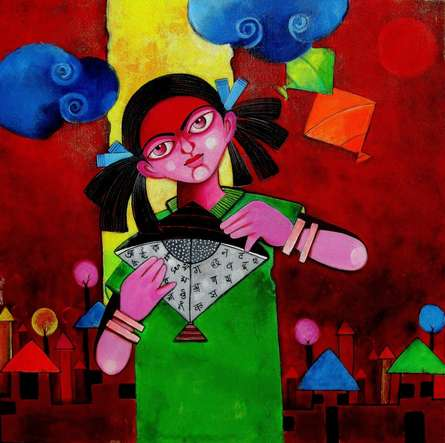 EDUCATE A GIRL | Painting by artist Sharmi Dey | acrylic | Canvas