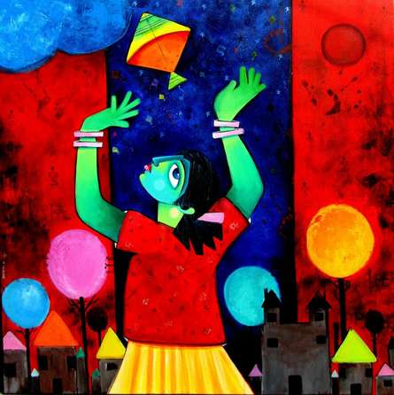 Sharmi Dey | Acrylic Painting title Udaan on Canvas | Artist Sharmi Dey Gallery | ArtZolo.com