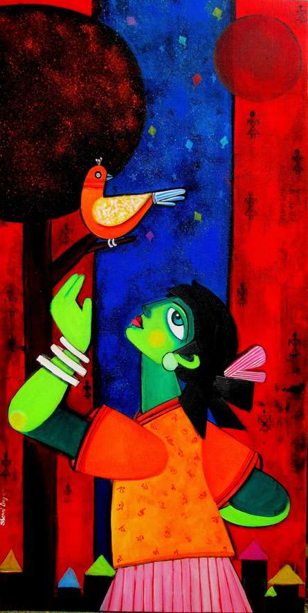 Figurative Acrylic Art Painting title Nightangel by artist Sharmi Dey