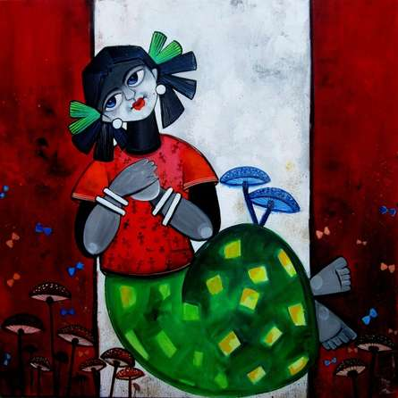 Figurative Acrylic Art Painting title QUEEN by artist Sharmi Dey
