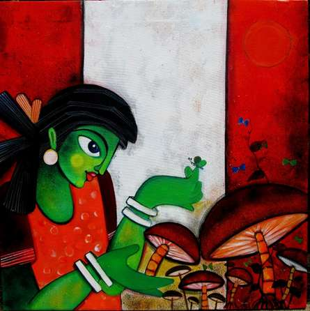 Sharmi Dey | Acrylic Painting title Meadow on Canvas | Artist Sharmi Dey Gallery | ArtZolo.com
