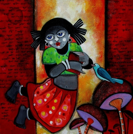 Figurative Acrylic Art Painting title 'Barnakumari' by artist Sharmi Dey