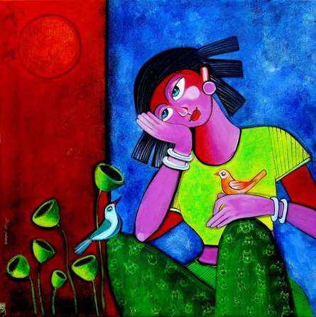 Figurative Acrylic Art Painting title 'In her thoughts' by artist Sharmi Dey