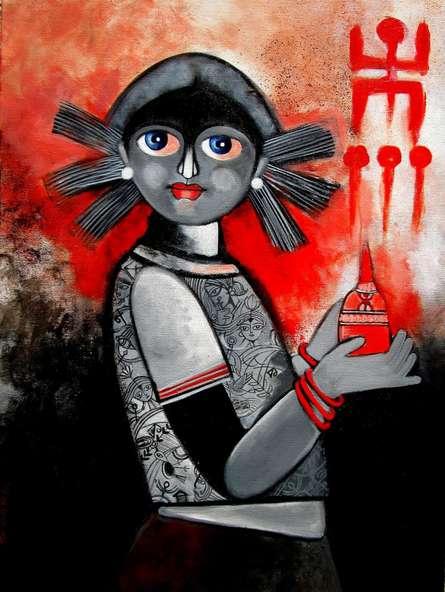 Durga | Painting by artist Sharmi Dey | acrylic | Canvas