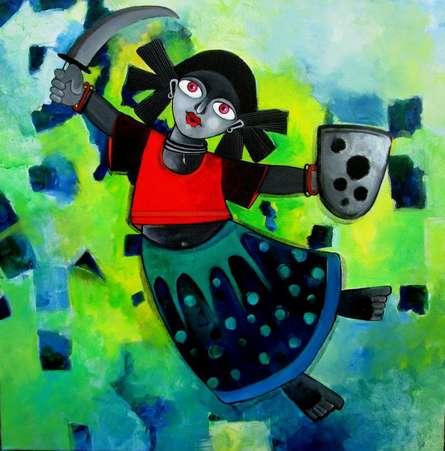 Sharmi Dey | Acrylic Painting title Yuvakumari on Canvas | Artist Sharmi Dey Gallery | ArtZolo.com