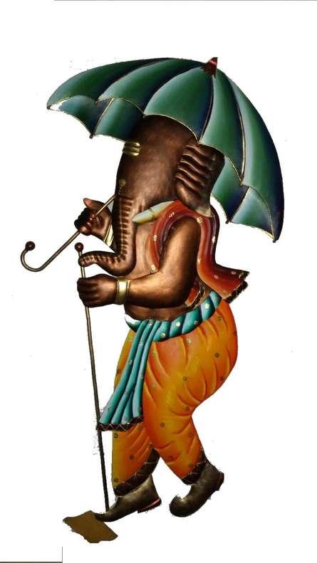 Ganesh With Umbrella | Craft by artist Handicrafts | Wrought Iron