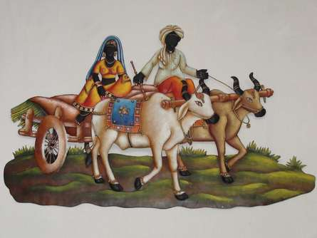 Nitesh | Villager Couple In Bullock Cart Craft Craft by artist Nitesh | Indian Handicraft | ArtZolo.com