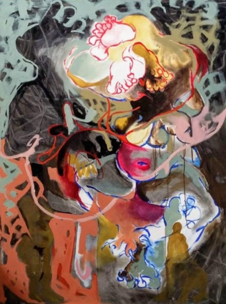 contemporary Acrylic Art Painting title The Hiding Devil by artist Rasana Bhardwaj