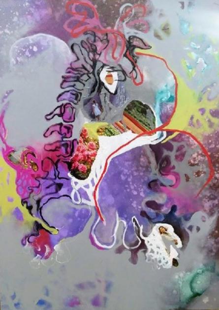 contemporary Mixed-media Art Painting title Violet Repress Reproduce Reproduction by artist Rasana Bhardwaj