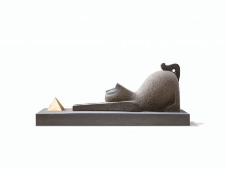 Basalt Stone Sculpture titled 'Egyptian Cat 2' by artist Prashant Bangal