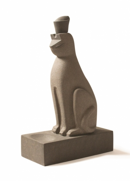 Basalt Stone Sculpture titled 'Cat 3' by artist Prashant Bangal