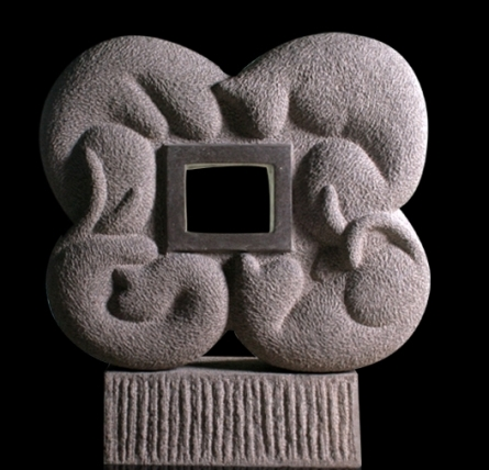 Basalt Stone Sculpture titled 'Cat 34' by artist Prashant Bangal
