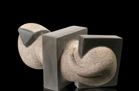Basalt Stone Sculpture titled 'Cat 4' by artist Prashant Bangal