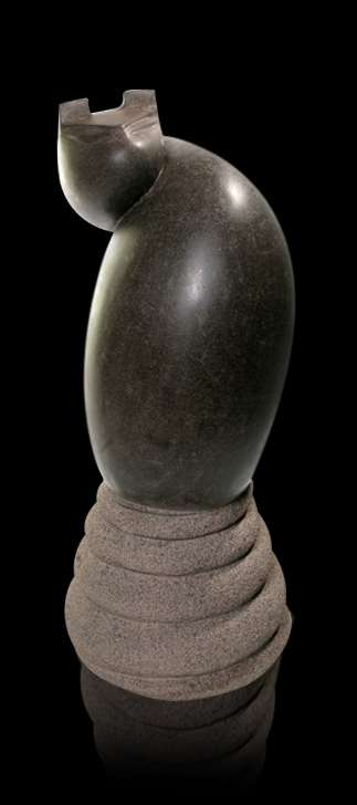 Basalt Stone Sculpture titled 'Cat 9' by artist Prashant Bangal