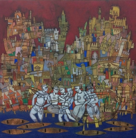 Figurative Acrylic Art Painting title 'Untitled 2' by artist Biswajit Mondal