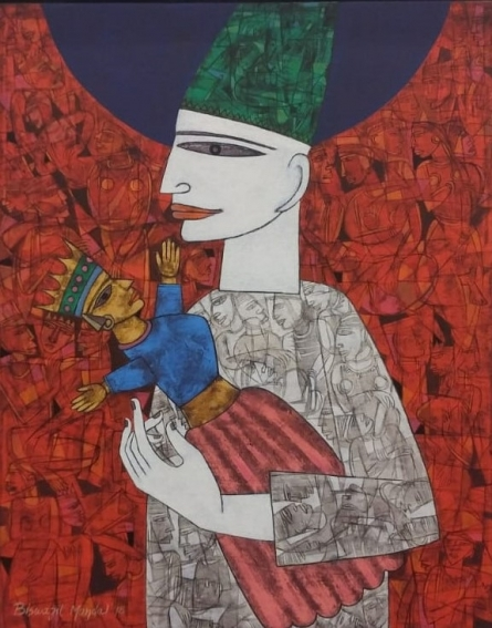 Figurative Acrylic Art Painting title 'Untitled 7' by artist Biswajit Mondal