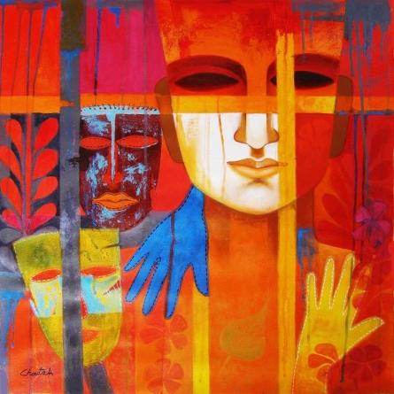 Nautanki Series 1   Painting by artist Chaitali Mukherjee   acrylic   Canvas