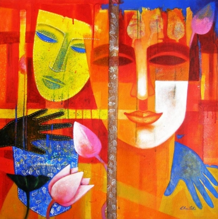 Figurative Acrylic Art Painting title 'Nautanki Series 2' by artist Chaitali Mukherjee