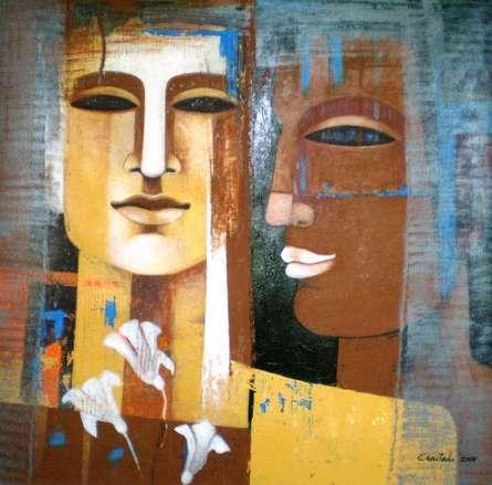 Nautanki Series 4 | Painting by artist Chaitali Mukherjee | acrylic | Canvas