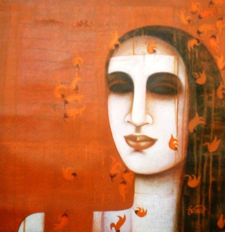 Figurative Acrylic Art Painting title 'Nautanki Series 6' by artist Chaitali Mukherjee