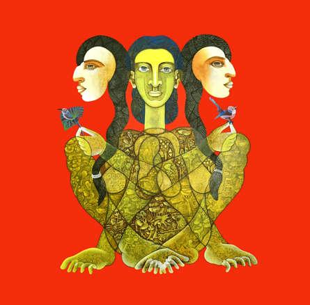 contemporary Acrylic-charcoal Art Painting title Tapasvini 1 by artist Dharmendra Kumar