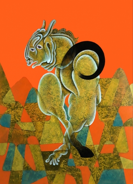 contemporary Acrylic Art Painting title 'Untitled 3' by artist Dharmendra Kumar