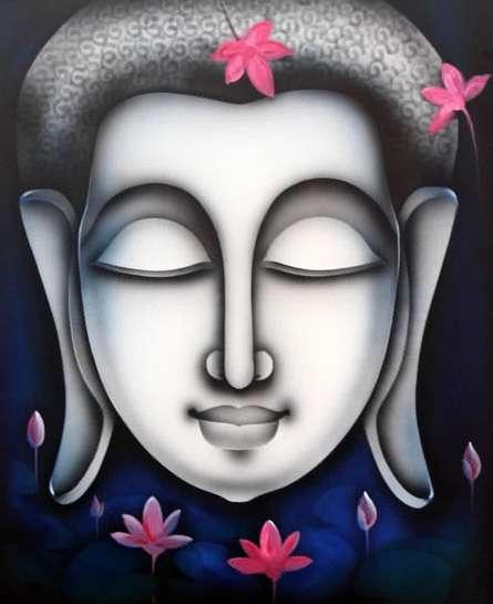 Religious Acrylic Art Painting title 'Buddha 4' by artist Pradeesh K