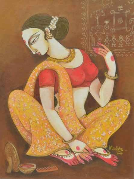 Figurative Acrylic Art Painting title 'Atraction Of Beauty' by artist Manisha Srivastava