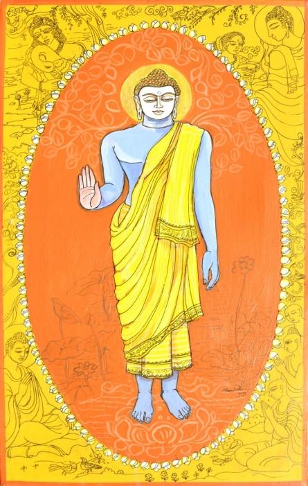 Religious Acrylic-pen Art Painting title 'Buddha Avatar From Dashavtaar Series 9' by artist Manisha Srivastava
