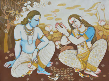 Figurative Acrylic Art Painting title 'Couple' by artist Manisha Srivastava