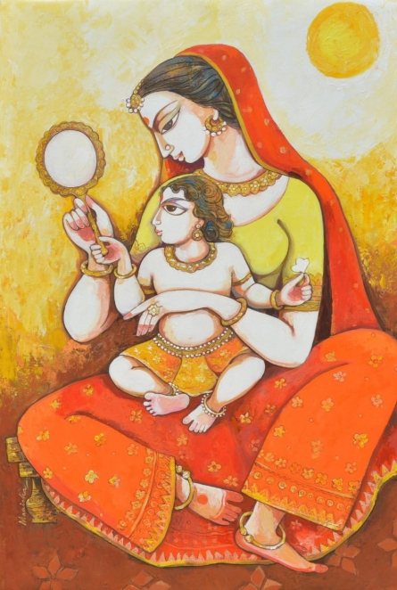 Figurative Acrylic Art Painting title 'Kaushlya Ke Ram' by artist Manisha Srivastava