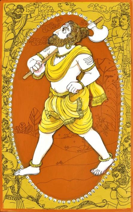 Religious Acrylic-pen Art Painting title 'Krishna Avatar From Dashavtaar Series 6' by artist Manisha Srivastava