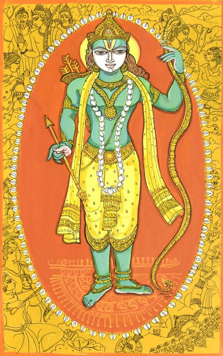 Religious Acrylic-pen Art Painting title 'Krishna Avatar From Dashavtaar Series 7' by artist Manisha Srivastava