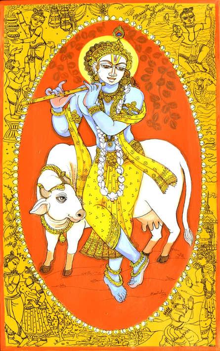 Religious Acrylic-pen Art Painting title 'Krishna Avatar From Dashavtaar Series 8' by artist Manisha Srivastava