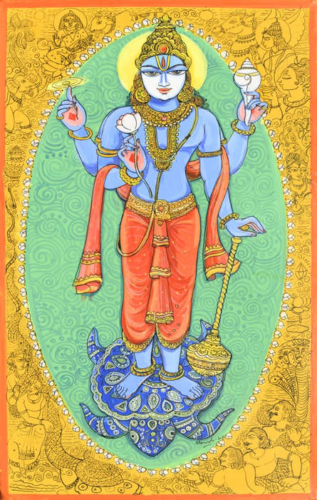 Religious Acrylic-pen Art Painting title 'Kurma Avatar From Dashavtaar Series 2' by artist Manisha Srivastava