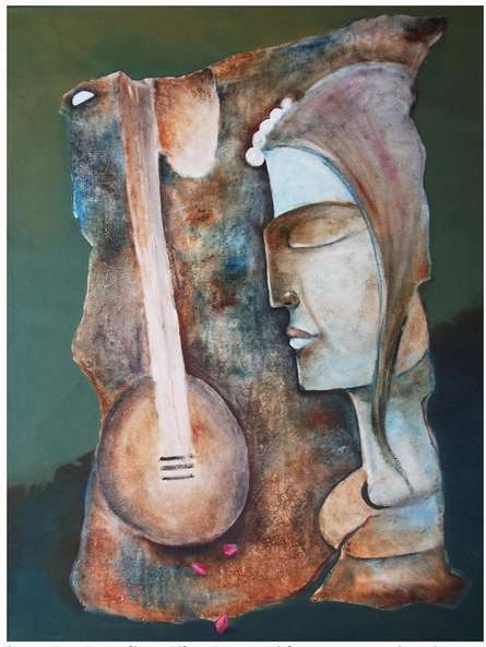 Figurative Oil Art Painting title 'Play Veena' by artist Manoj Muneshwar