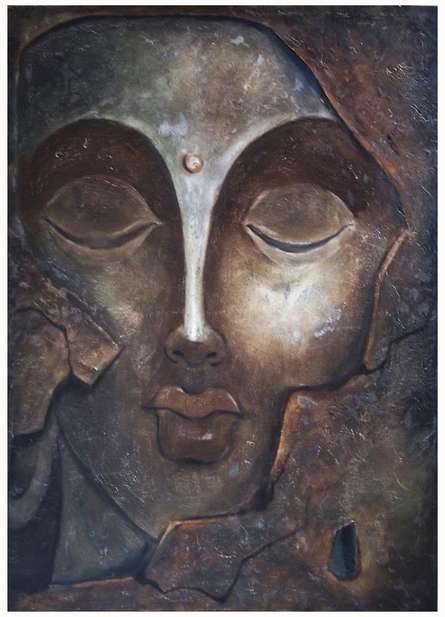 Figurative Oil Art Painting title 'The Face I' by artist Manoj Muneshwar