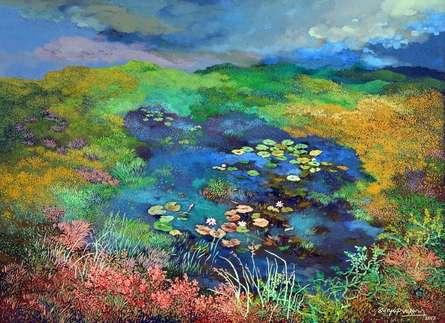 Nature Acrylic Art Painting title Landscape by artist Surya Prakash