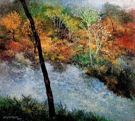 Landscape Acrylic Art Painting title 'River Side View' by artist Surya Prakash