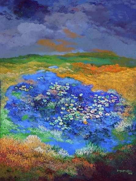 Nature Acrylic Art Painting title The Pond 2 by artist Surya Prakash