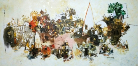 Anand Narain | Oil Painting title Banaras 10 on Canvas | Artist Anand Narain Gallery | ArtZolo.com