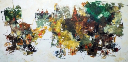Anand Narain | Oil Painting title Banaras 11 on Canvas | Artist Anand Narain Gallery | ArtZolo.com