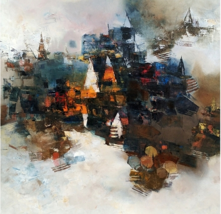 Cityscape Oil Art Painting title 'Banaras 2' by artist Anand Narain