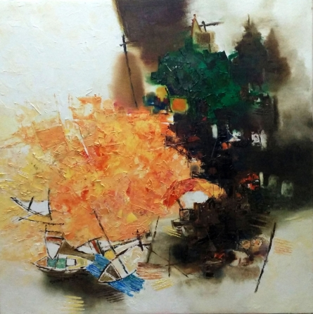 Cityscape Oil Art Painting title 'Banaras 37' by artist Anand Narain