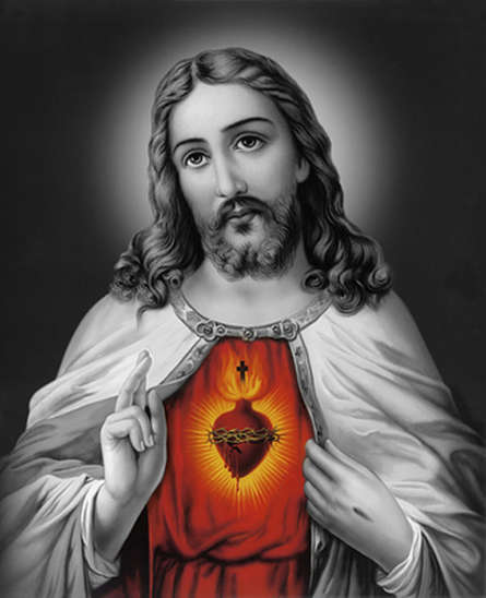 Religious Acrylic Art Painting title 'Sacred Heart Jesus Christ 9' by artist Ns Art