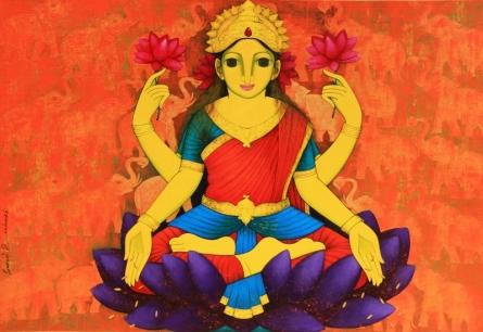 Prakash Deshmukh | Acrylic Painting title Lakshmi on Canvas | Artist Prakash Deshmukh Gallery | ArtZolo.com