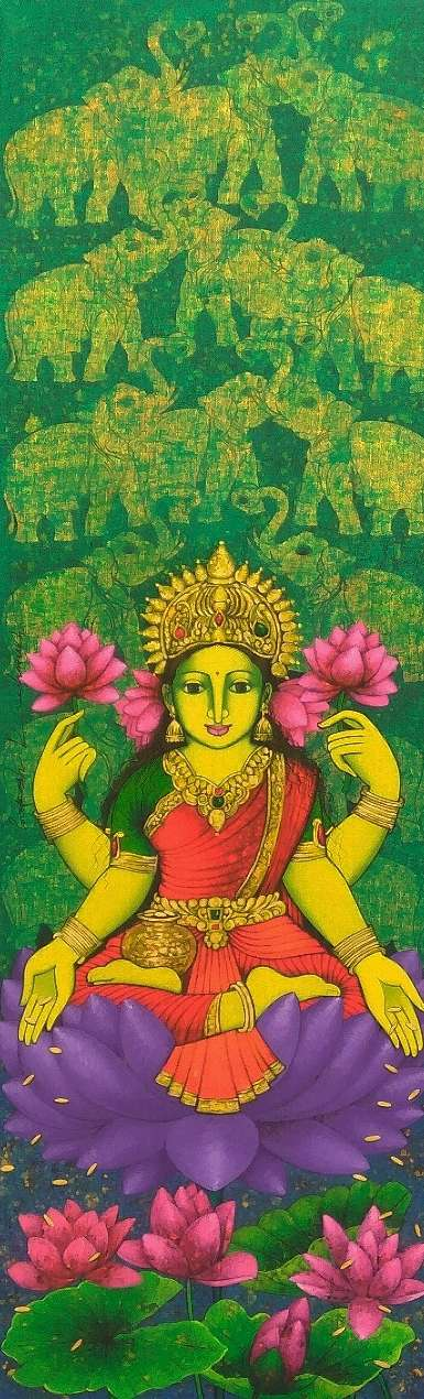 Religious Acrylic Art Painting title 'Laxmi' by artist Prakash Deshmukh
